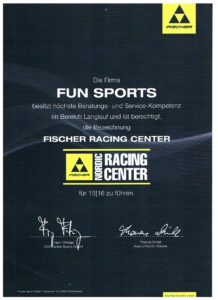 Firsher Racing Center Urkunde